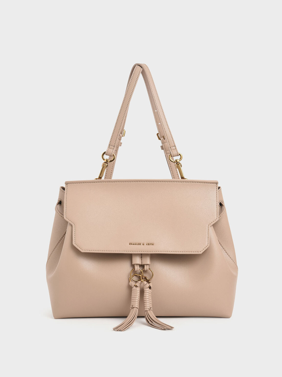 Tassel Shoulder Bag, Beige, hi-res