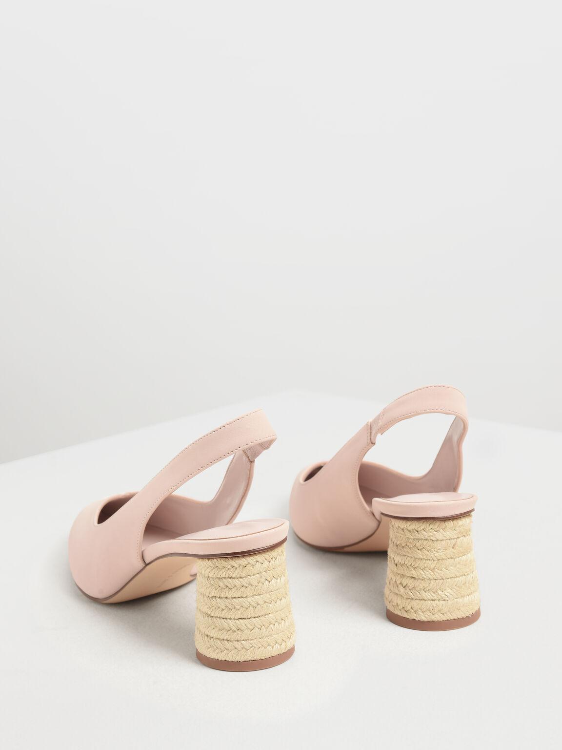 Cylindrical Espadrille Block Heel Slingbacks, Pink, hi-res