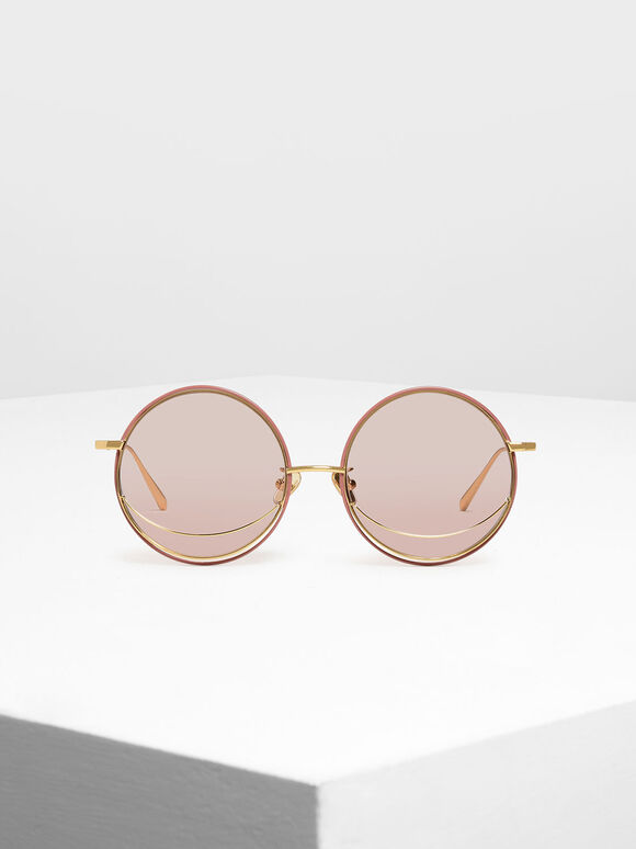 Circle Frame Sunglasses, Pink, hi-res