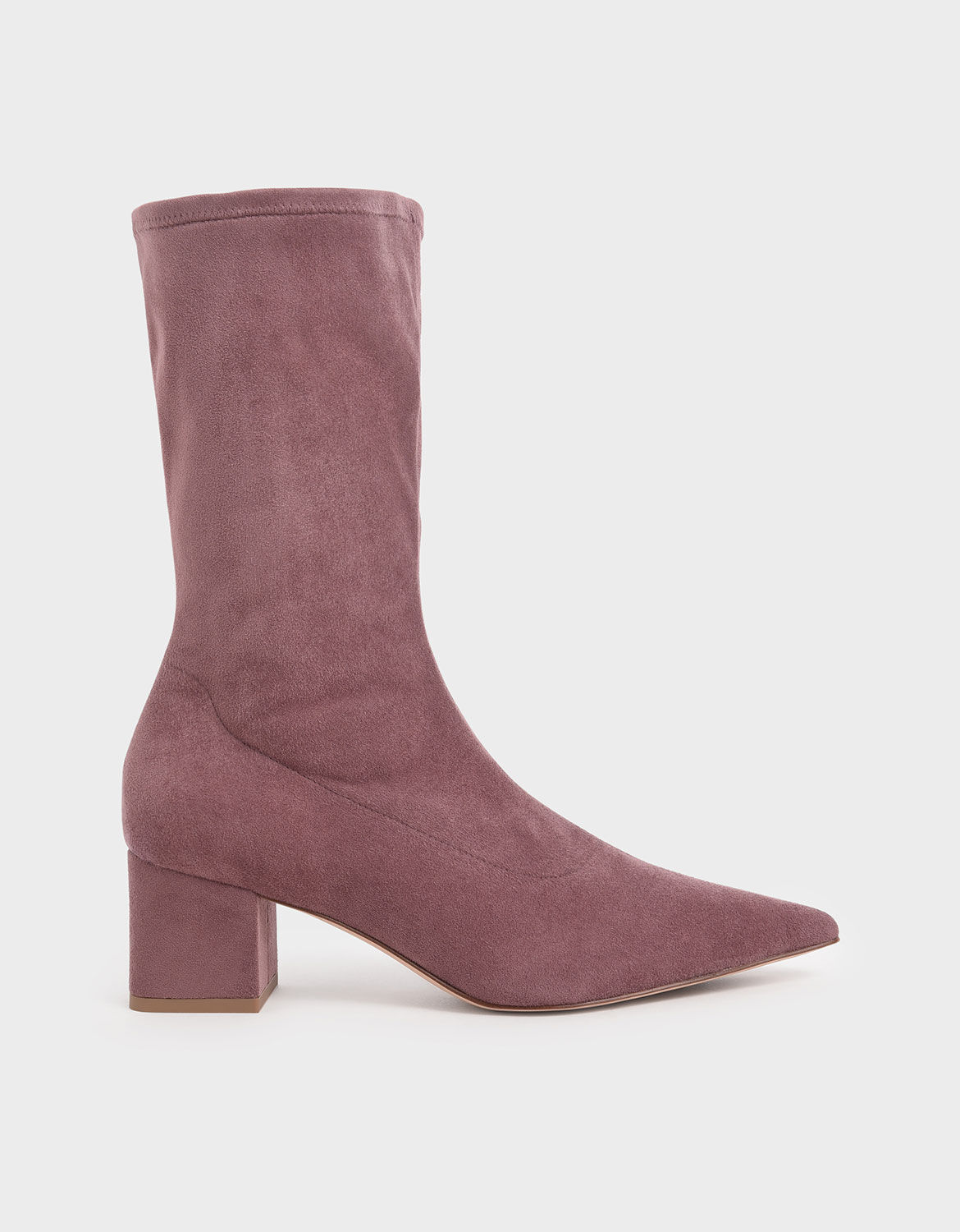 Mauve Textured Pointed Toe Calf Boots