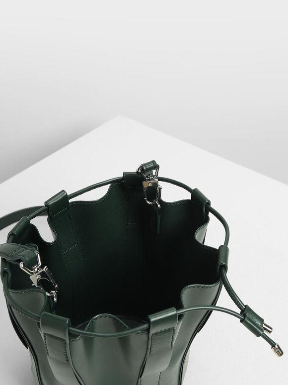 Fringe Bucket Bag, Dark Green, hi-res
