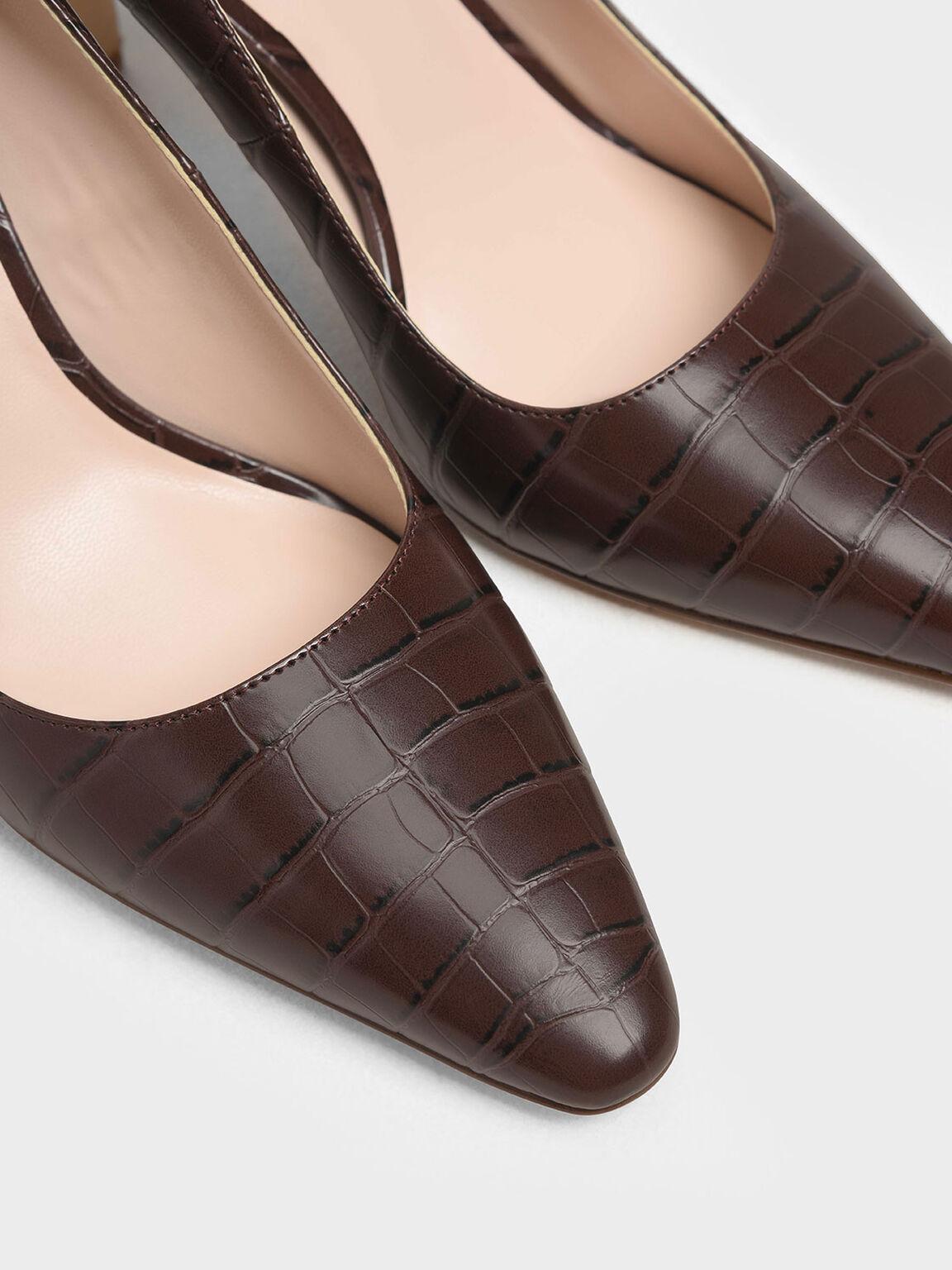 Croc-Effect Chunky Heel Pumps, Brown, hi-res