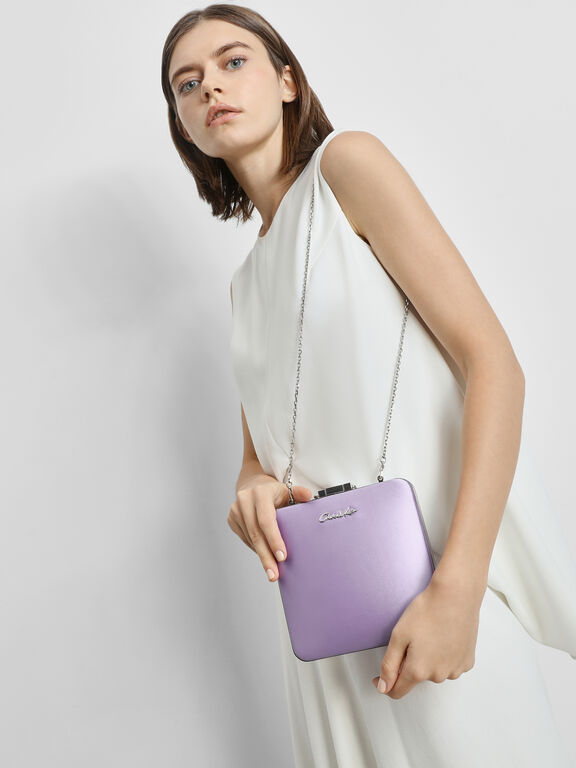 Satin Push Lock Bracelet Clutch, Lilac