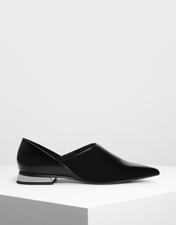 Black Pointed Toe Slip On Flat Shoes