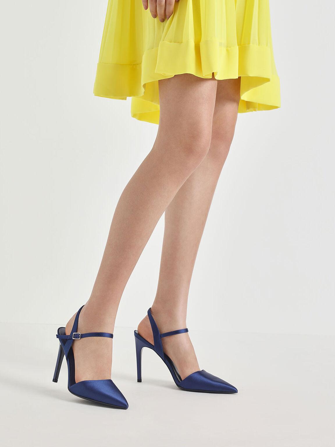 Satin Ankle Strap Covered Heels, Blue, hi-res
