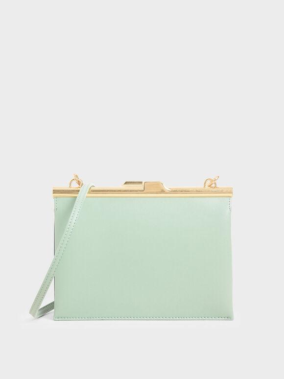 Square Clutch, Mint Green, hi-res