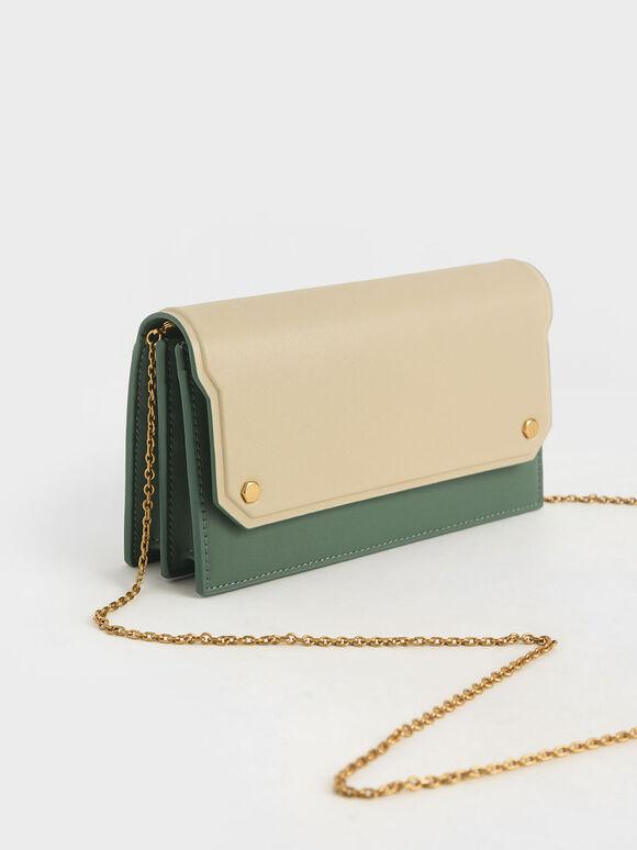 Two-Tone Mini Long Wallet, Green, hi-res