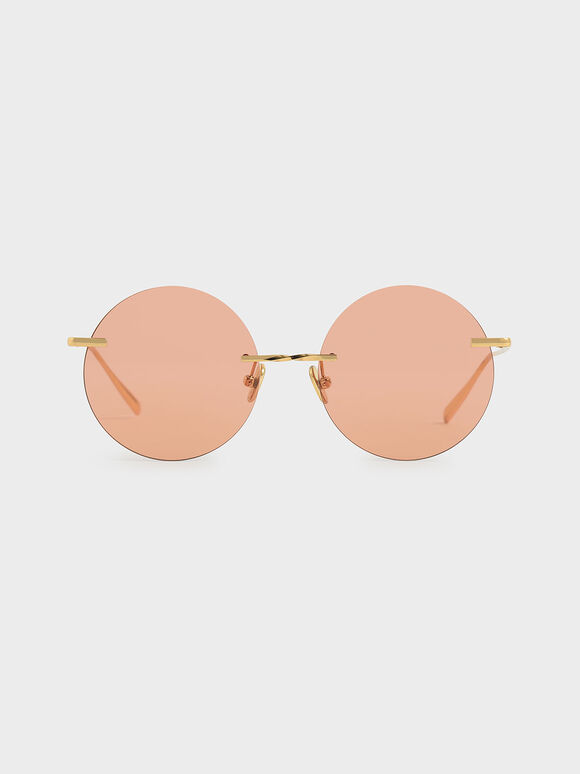 Round Rimless Sunglasses, Orange, hi-res