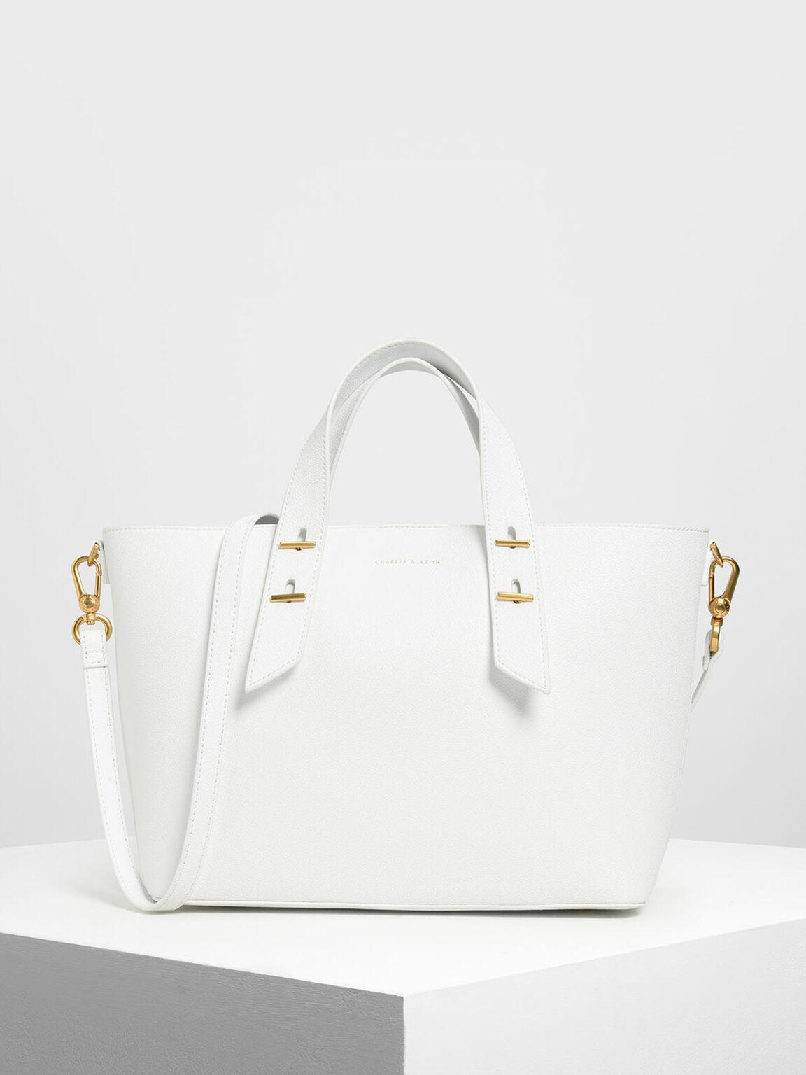 金屬裝飾手提包, 白色, hi-res