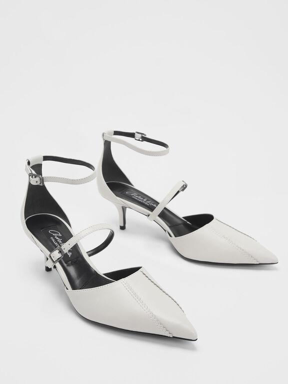 Zigzag Detail Leather Mary Jane Kitten Heels, Chalk