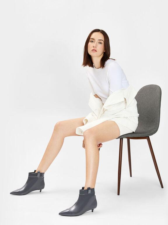 Pointed Kitten Heel Boots, Grey