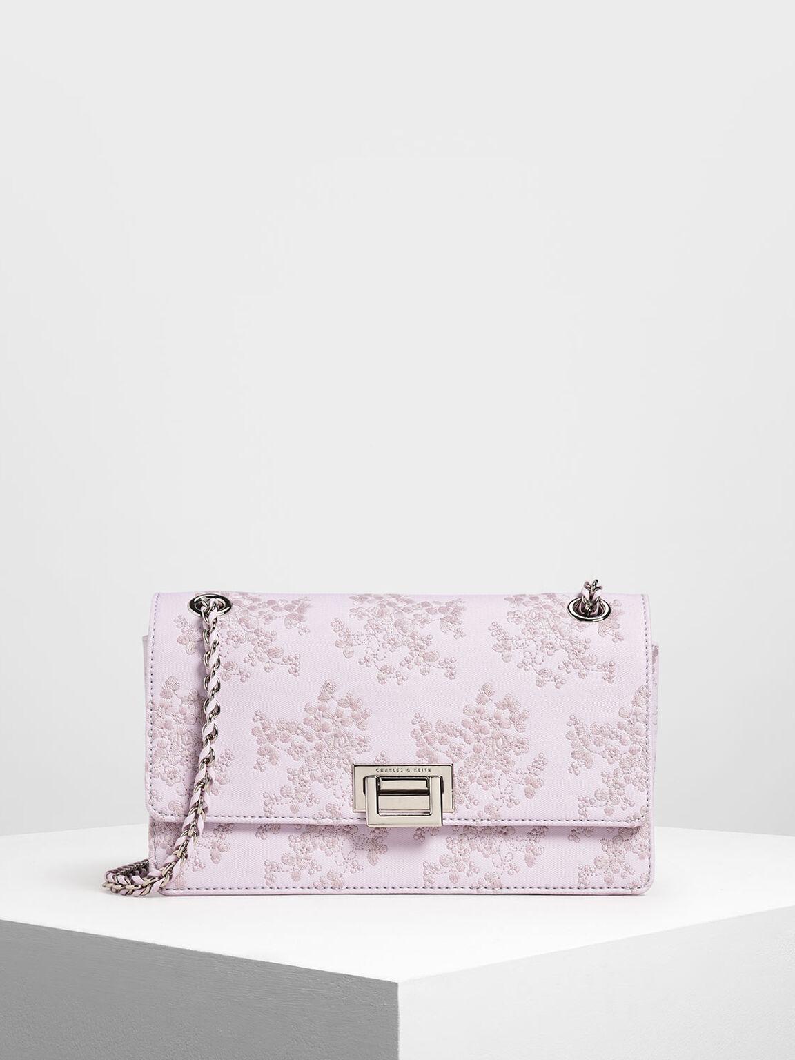 Mesh Flip Lock Shoulder Bag, Lilac, hi-res