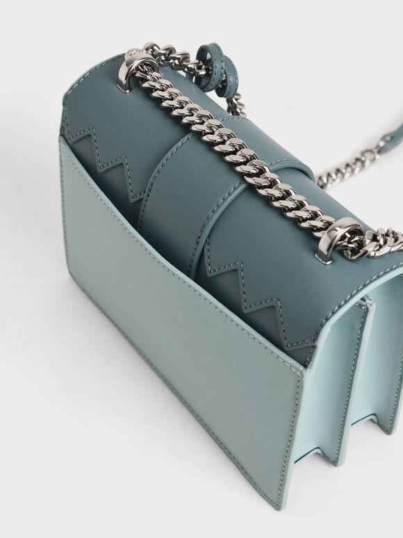 Metallic Buckle Sling Bag, Teal, hi-res