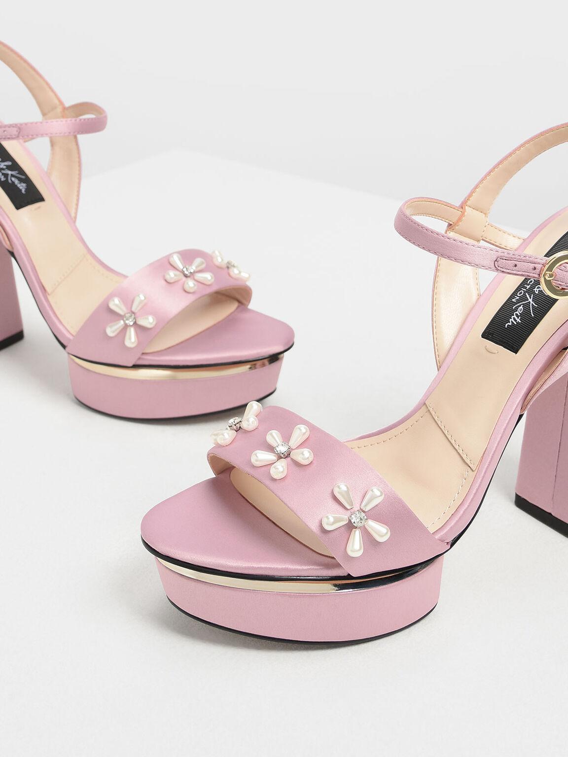 Floral Embellished Satin Platforms, Pink, hi-res