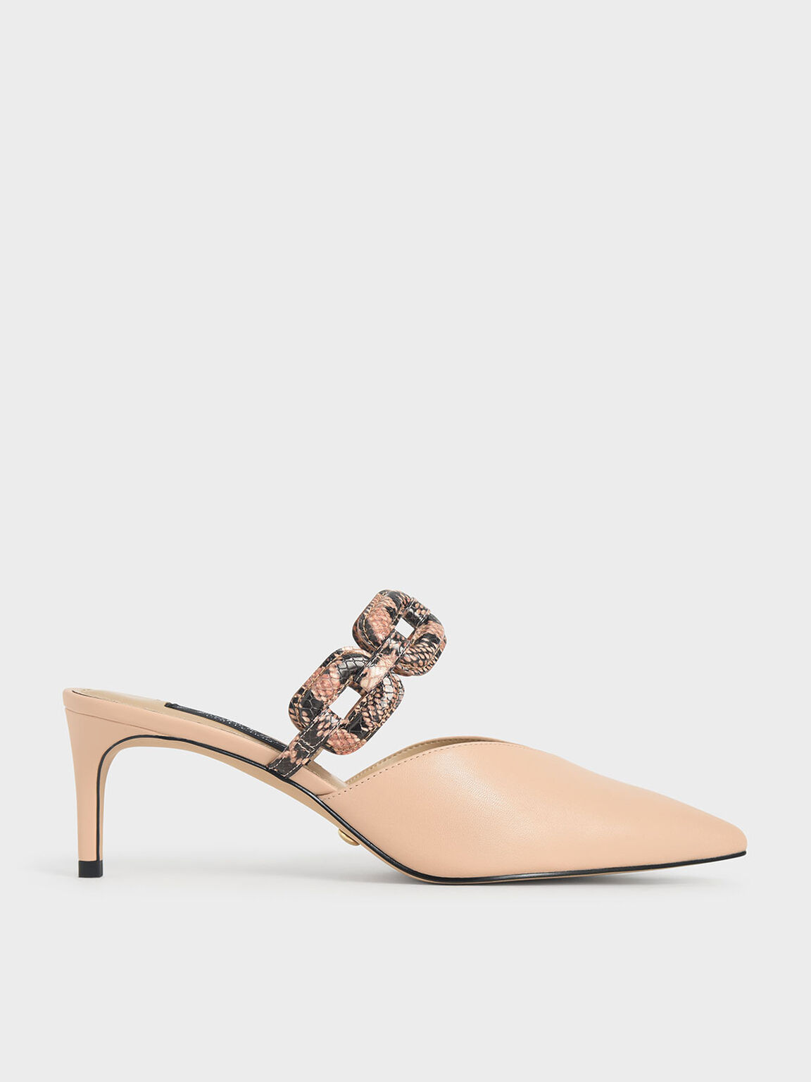 Leather Snake Print Mules, Light Pink, hi-res