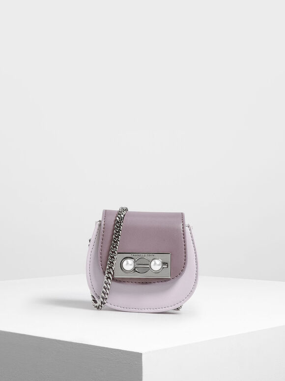 Mini Saddle Key Pouch, Lilac, hi-res