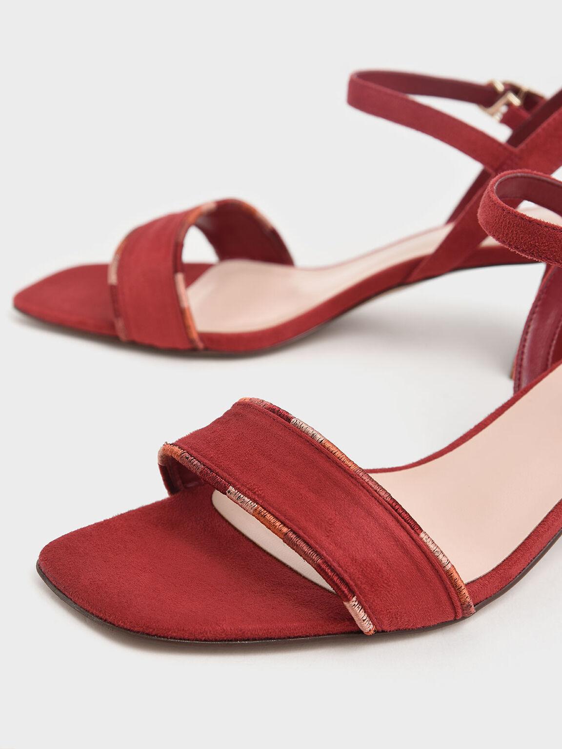 繞踝粗跟涼鞋, 紅色, hi-res
