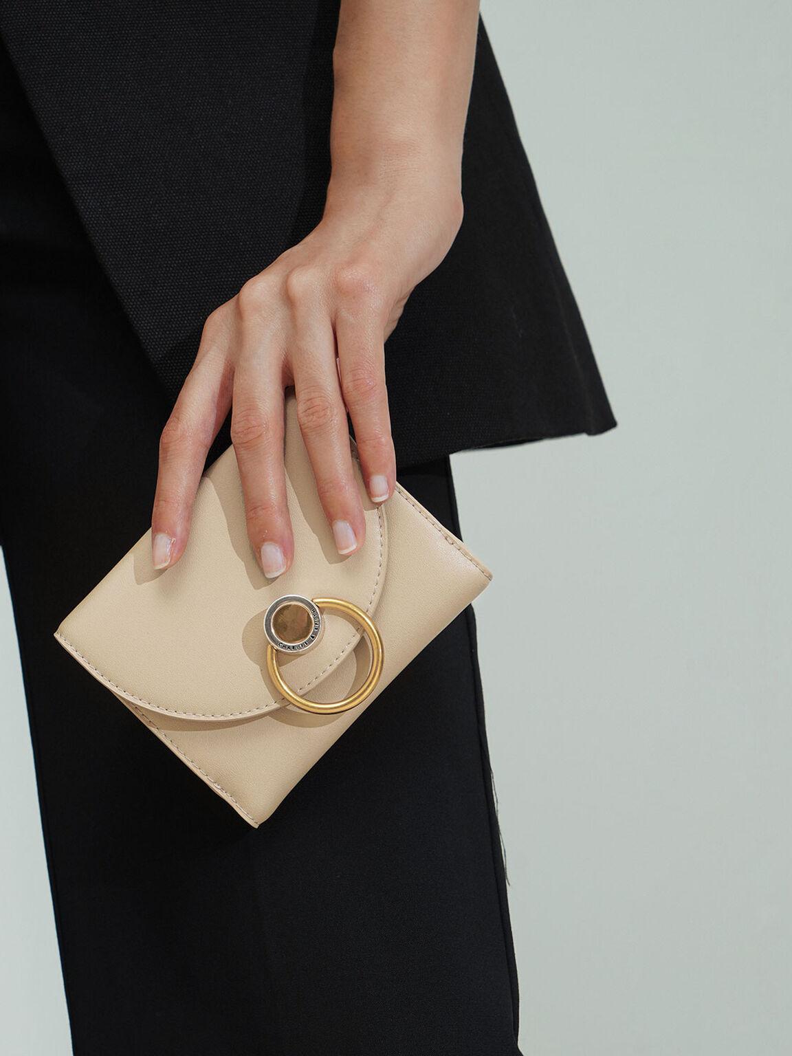 Ring Push-Lock Mini Wallet, Ivory, hi-res