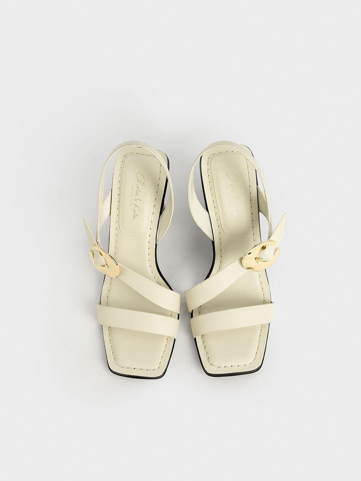 真皮金屬扣粗跟鞋, 石灰白, hi-res
