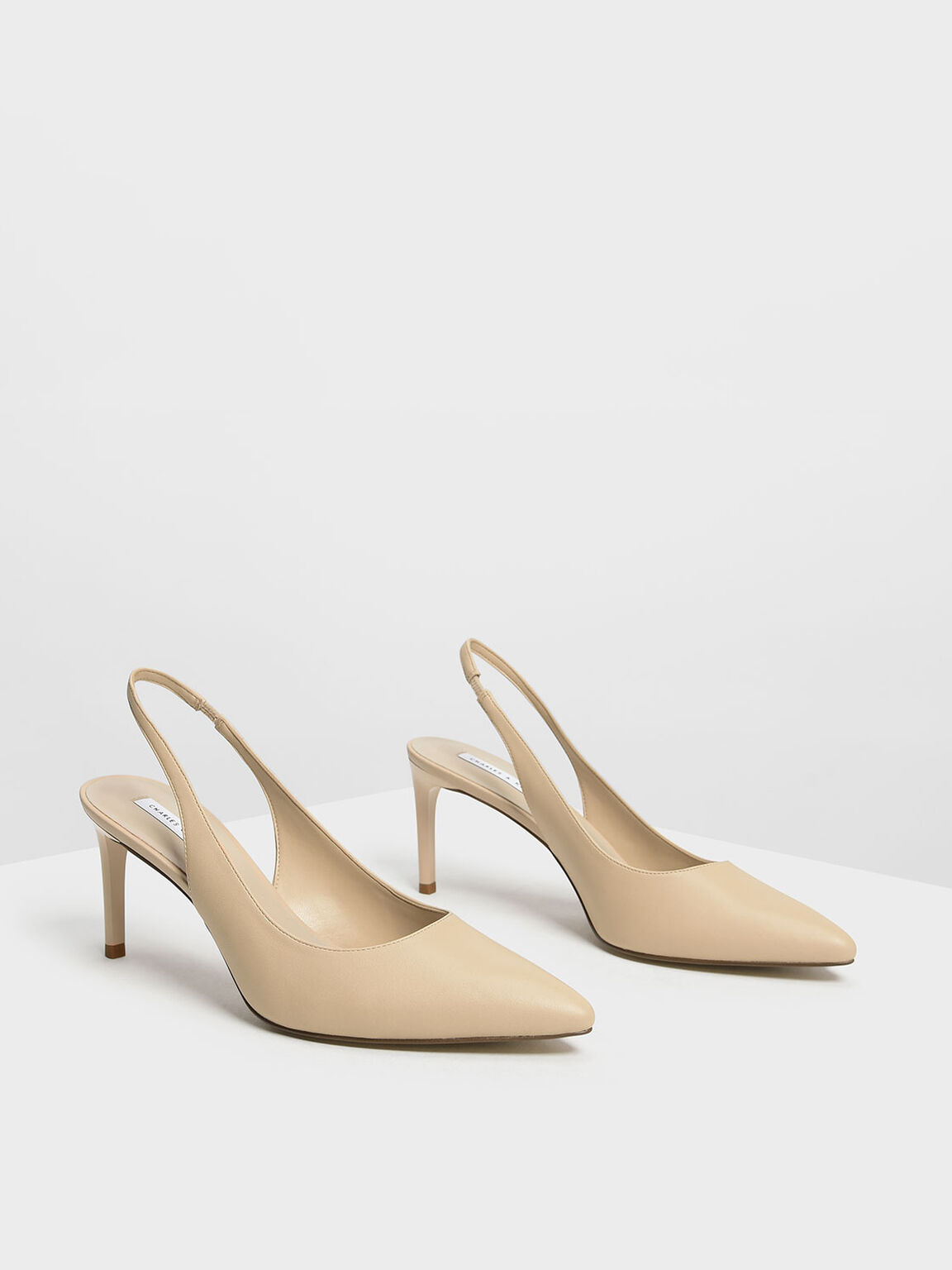 Pointed Toe Slingbacks, Nude, hi-res