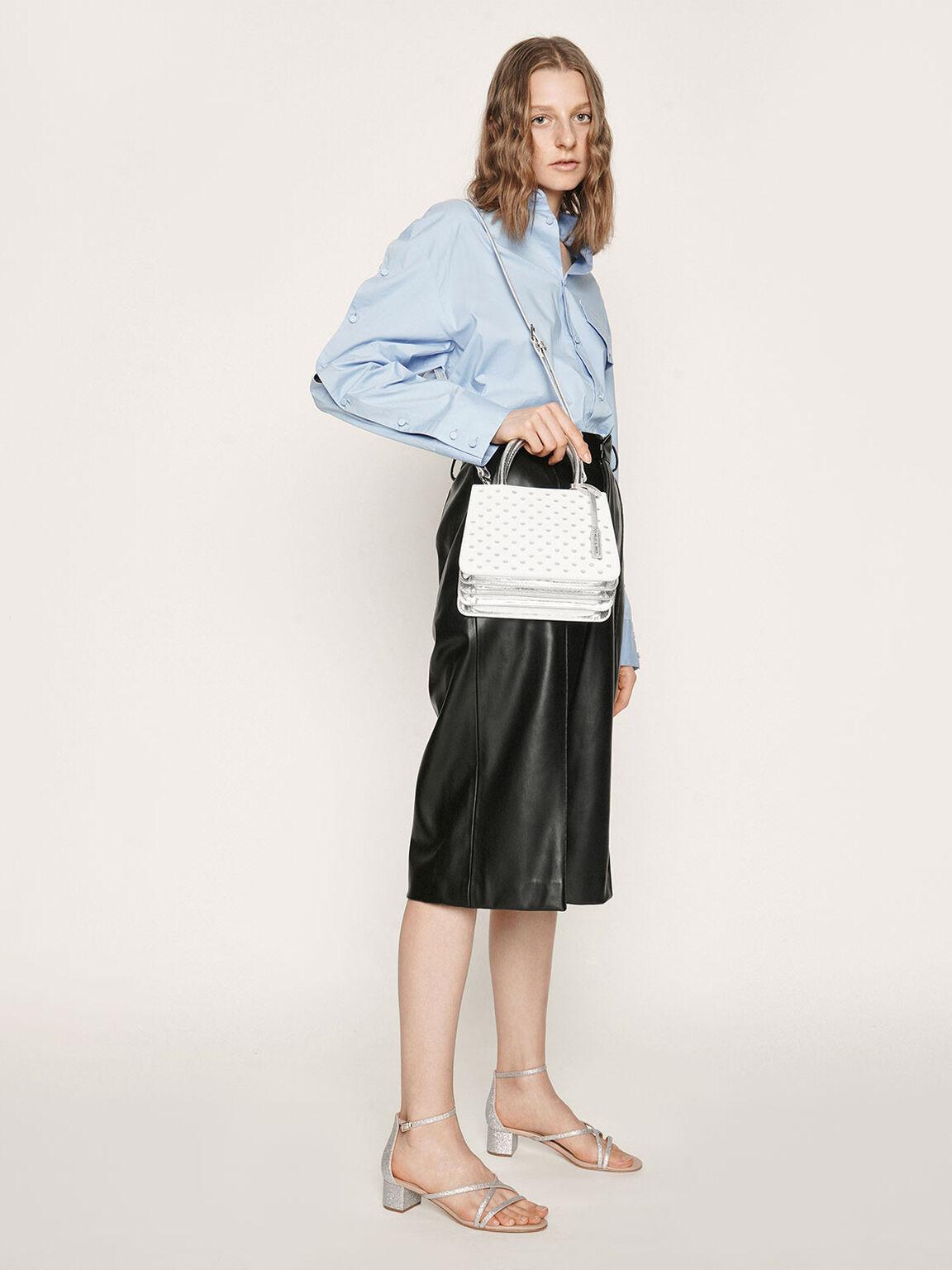 Laser-Cut Handbag, White, hi-res