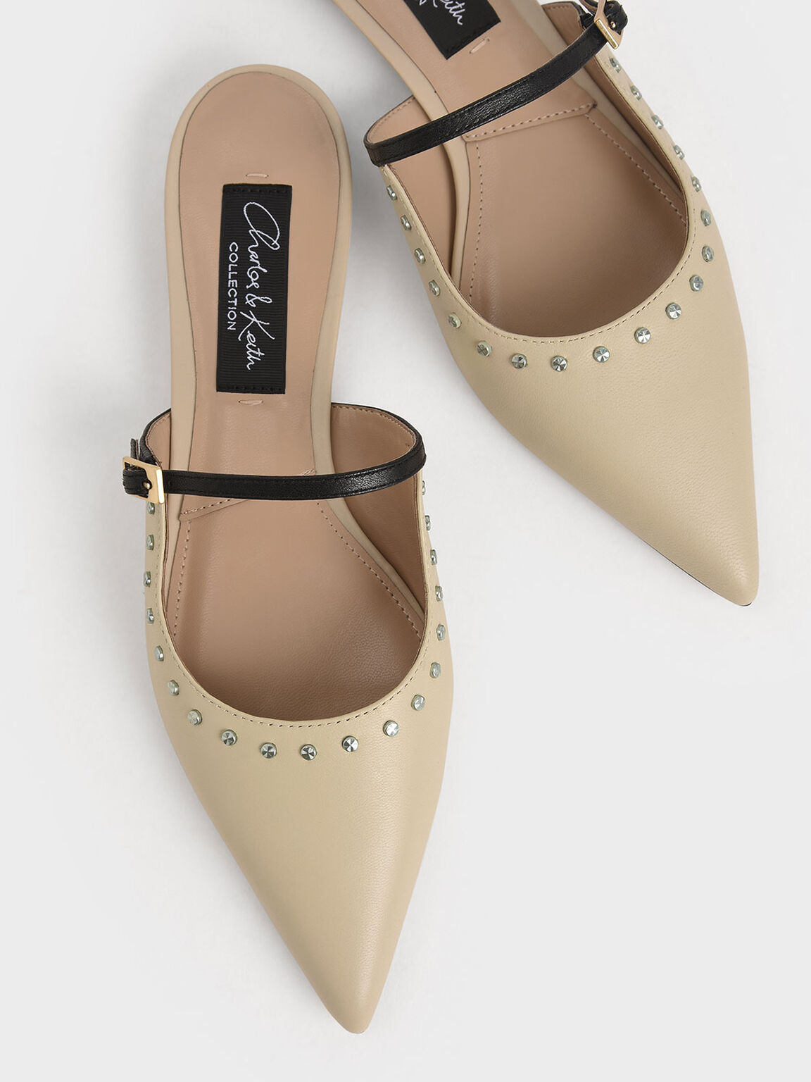 Studded Leather Mules, Beige, hi-res