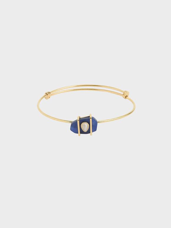 方納石淚滴手環, 深藍色, hi-res