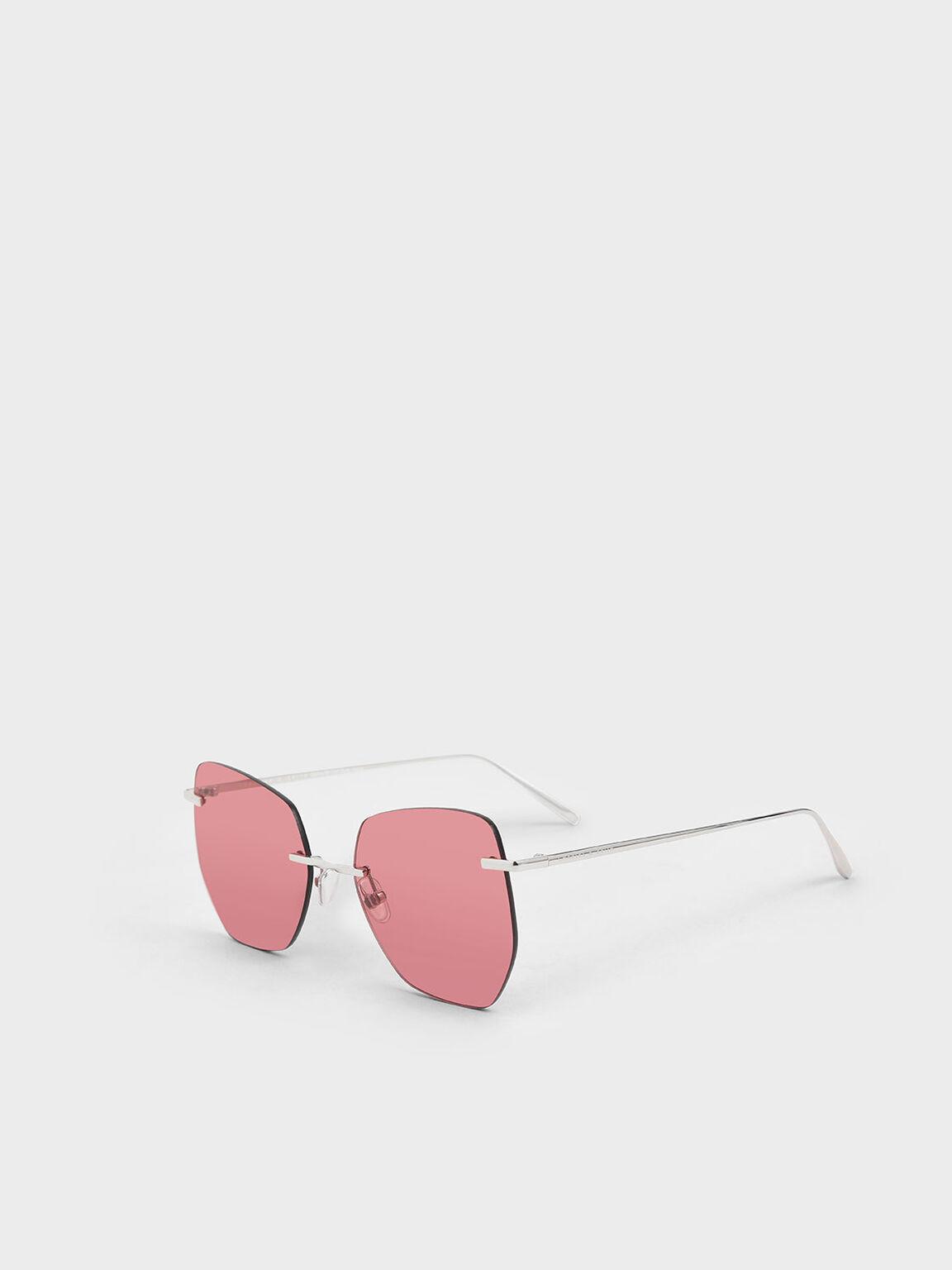 Rimless Geometric Sunglasses, Red, hi-res