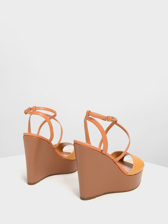 Criss Cross Ankle Strap Wedges, Mustard