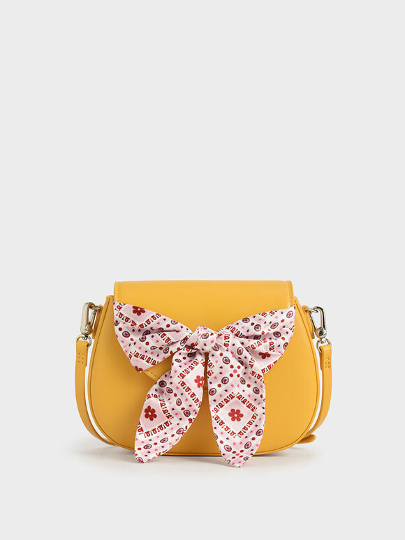 Summer 2020 Responsible Collection: Girls' Bandana Print Bow Crossbody Bag, Yellow, hi-res