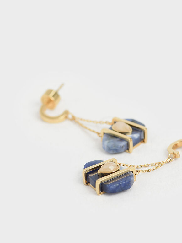 Sodalite & Moonstone Drop Earrings, Dark Blue, hi-res