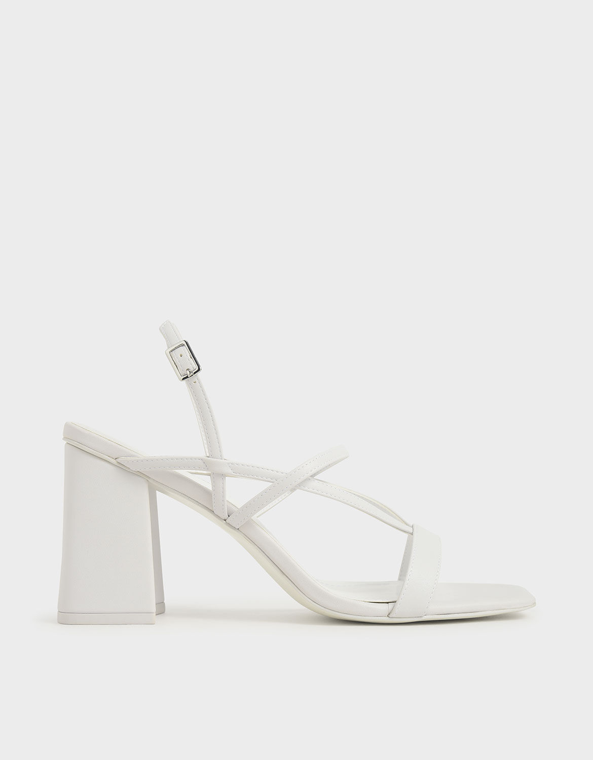 White Strappy Chunky Heel Sandals