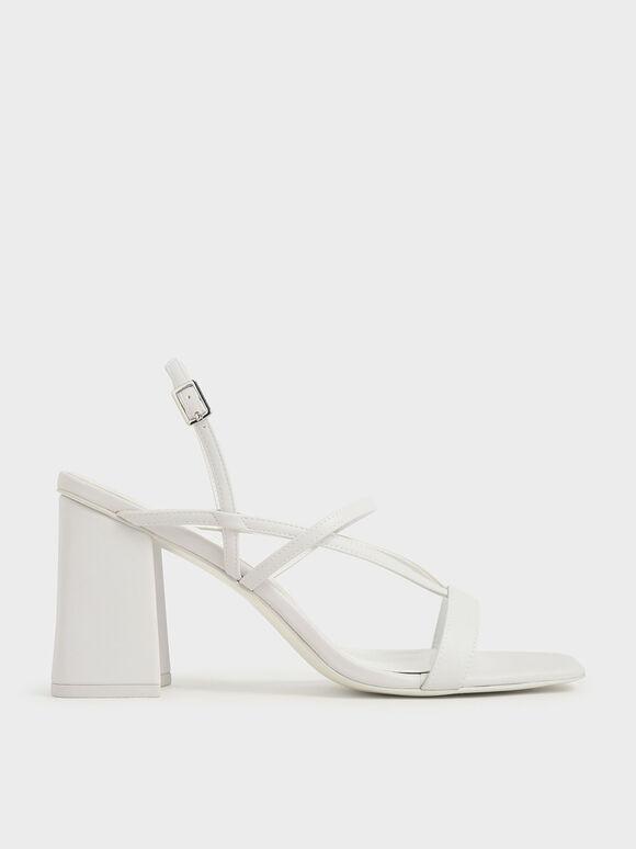 V字多帶粗跟涼鞋, 白色, hi-res