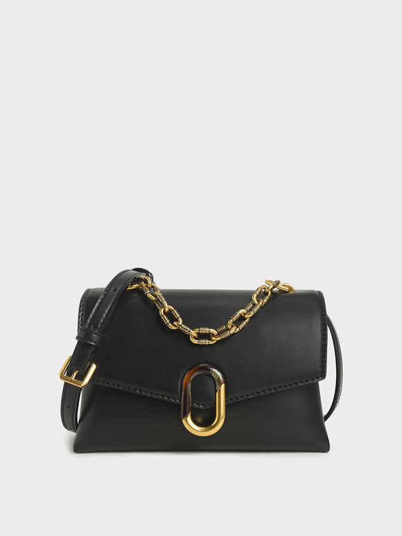 Chunky Chain Strap Trapeze Bag, Black, hi-res