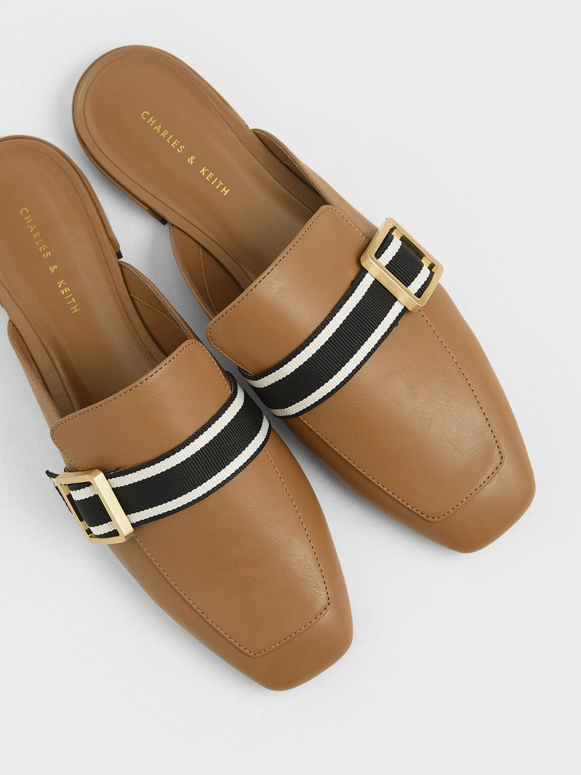 Striped Strap Loafer Mules, Camel, hi-res