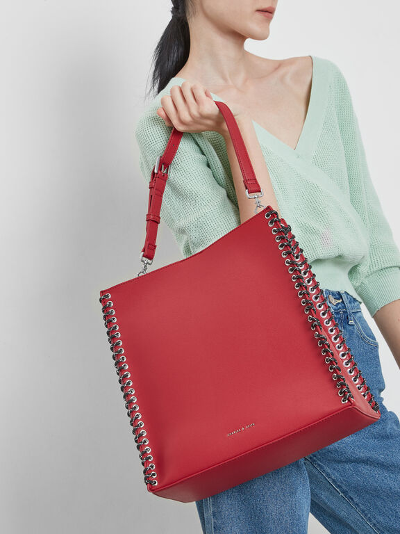 Whipstitch Trim Tote Bag, Red