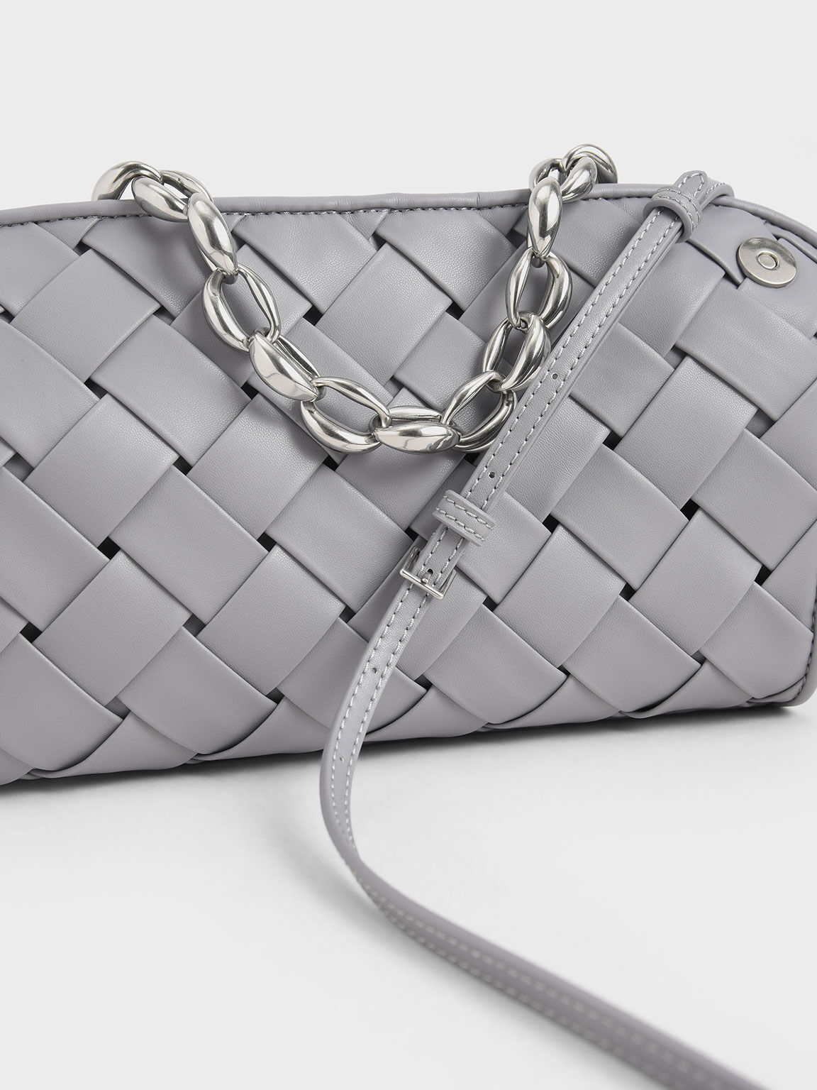 Woven Shoulder Bag, Lilac, hi-res