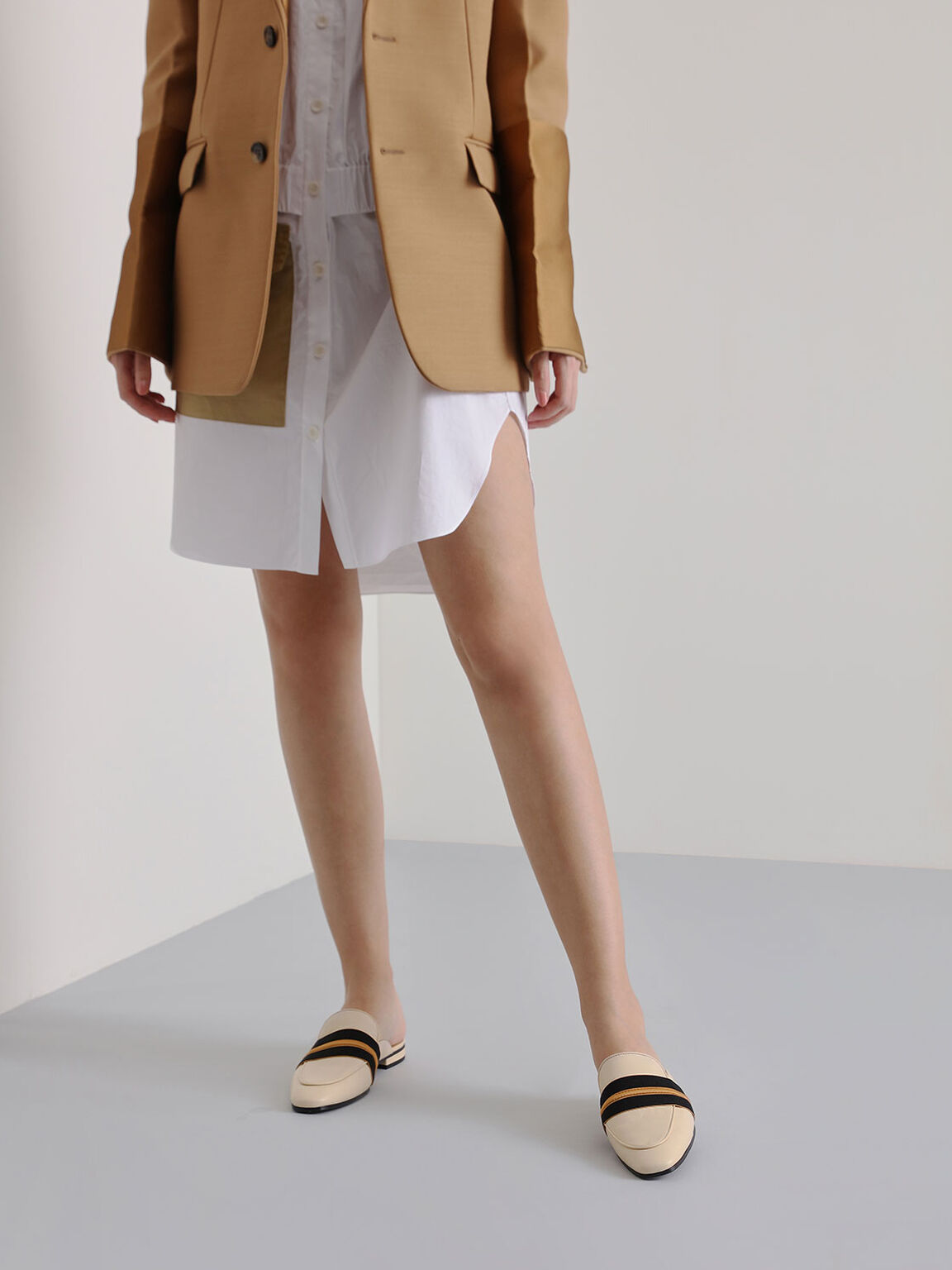 Two-Tone Leather Loafer Mules, Cream, hi-res