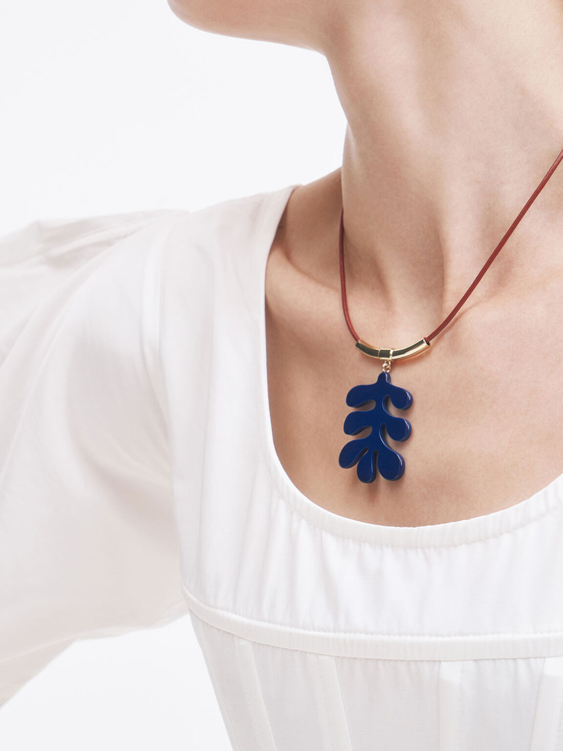 Acetate Charm Necklace, Blue, hi-res