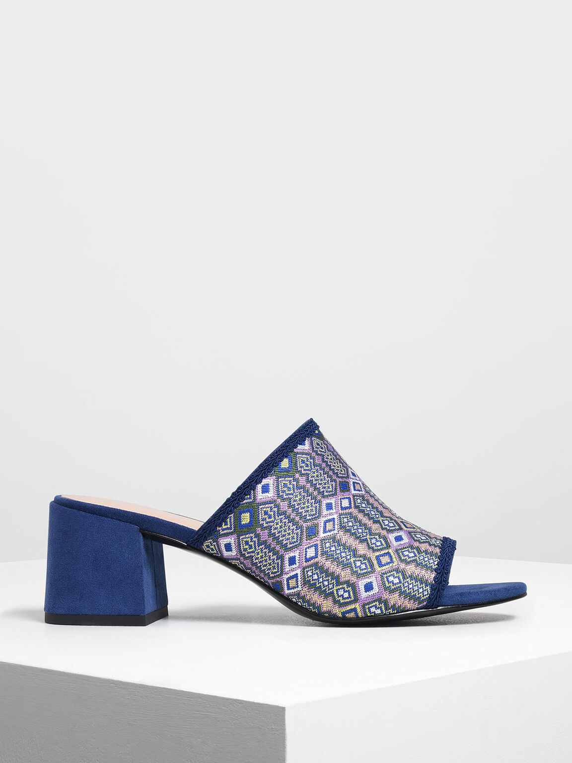 Printed Fabric Block Heel Slide Sandals, Purple, hi-res