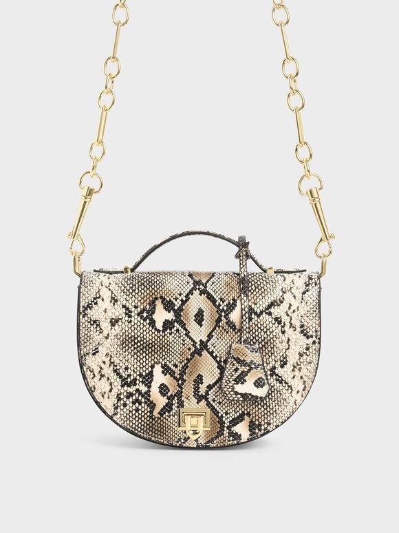 Snake Print Top Handle Saddle Bag, Multi, hi-res