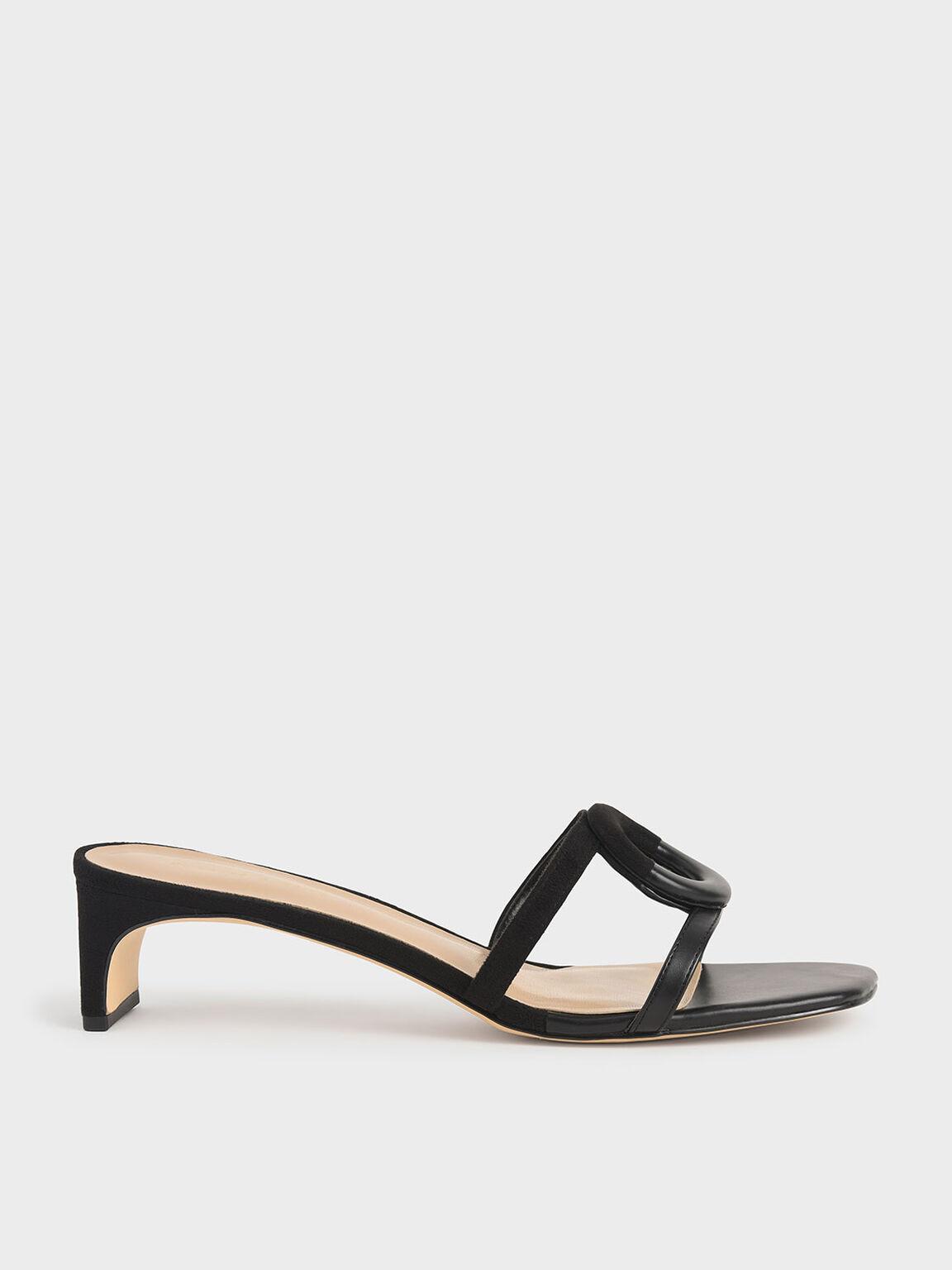 幾何鏤空拖鞋, 黑色, hi-res