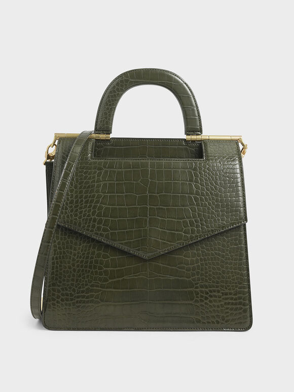 Croc-Effect Envelope Bag, Olive, hi-res