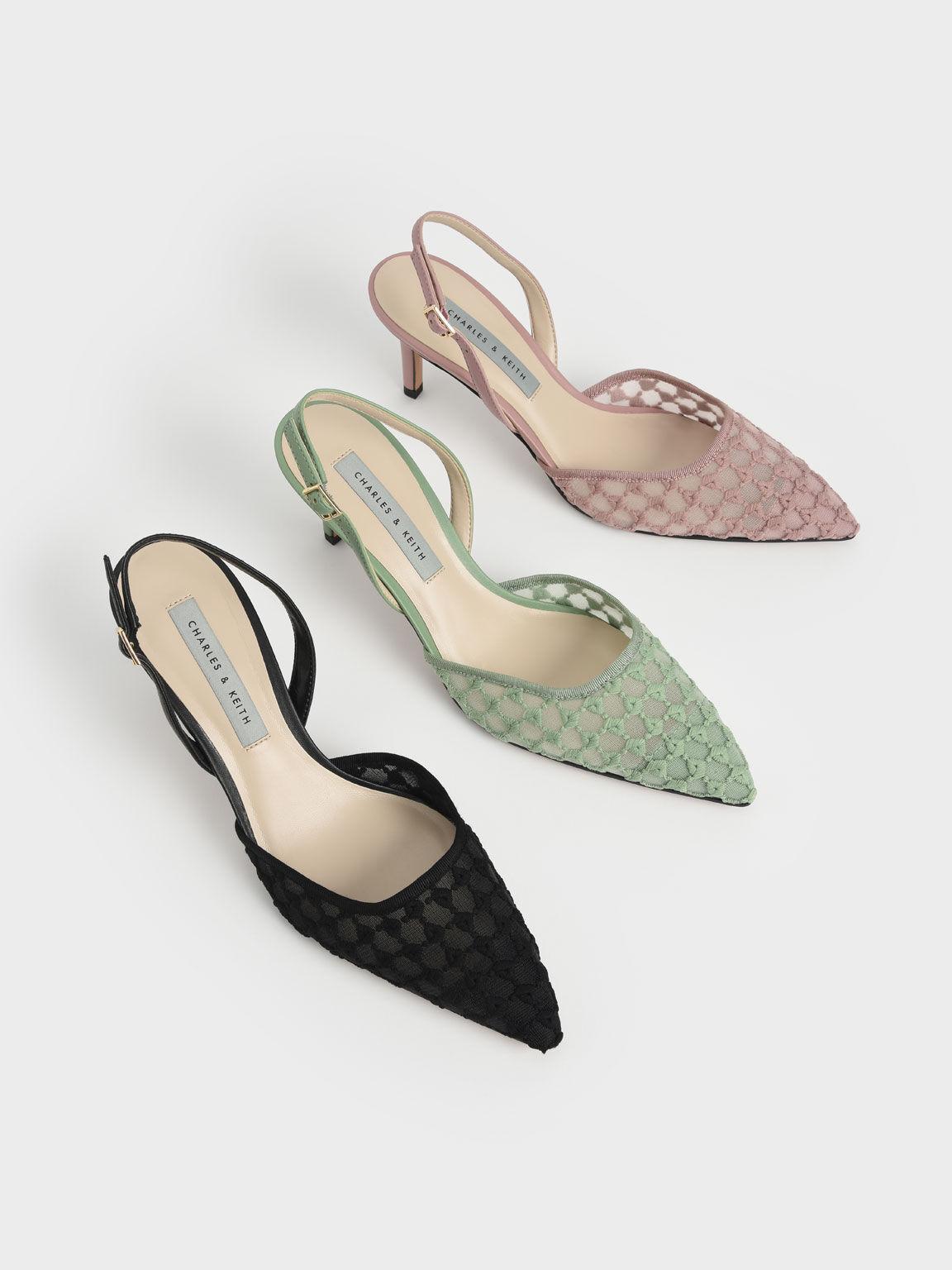 蕾絲編織細跟鞋, 淺粉色, hi-res