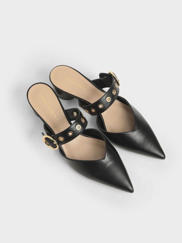 皮帶粗跟穆勒鞋, 黑色, hi-res
