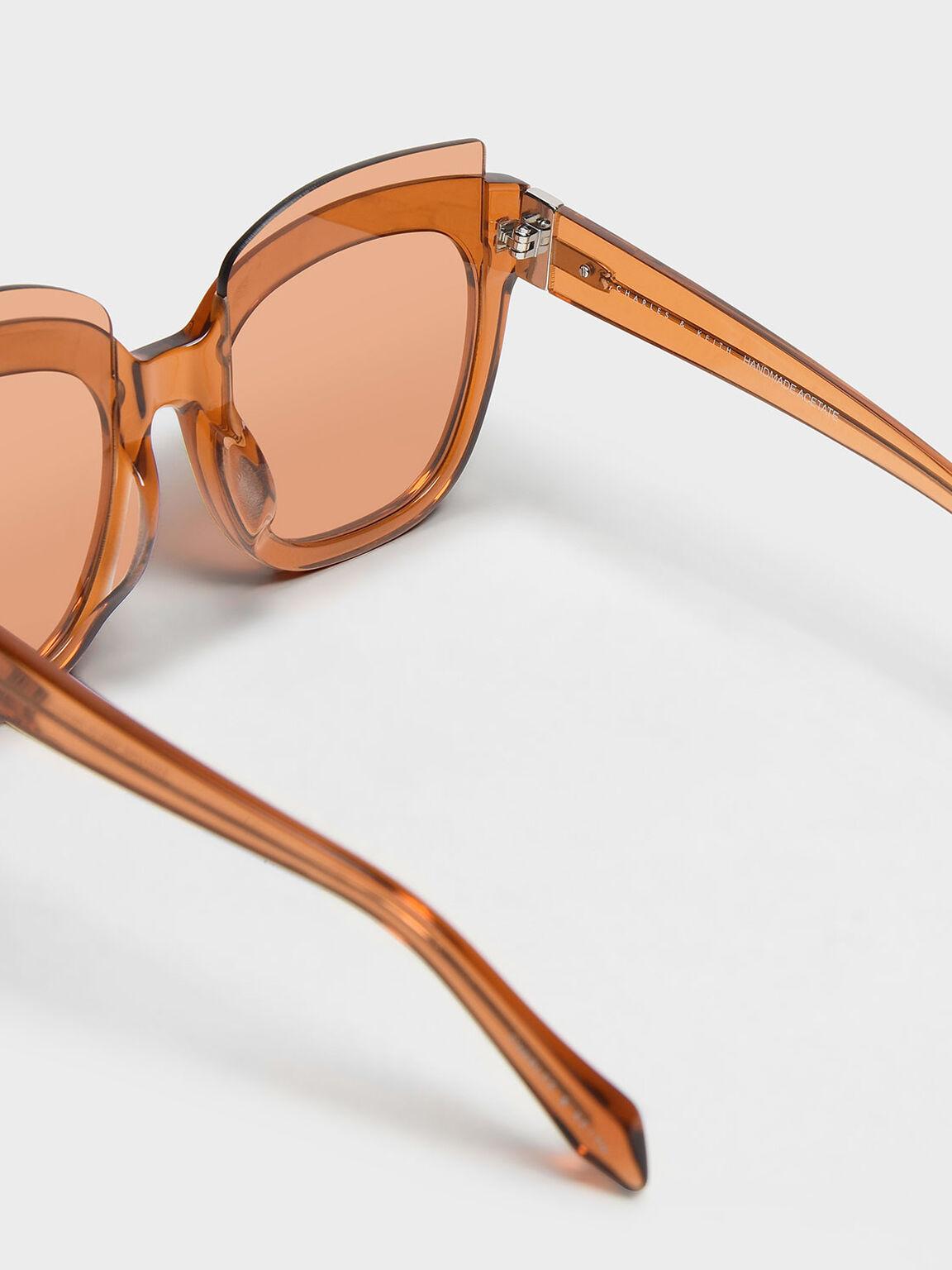 Oversized Lens Sunglasses, Orange, hi-res