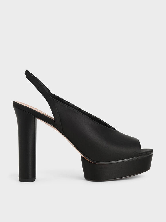 Satin V-Cut Slingback Platforms, Black, hi-res