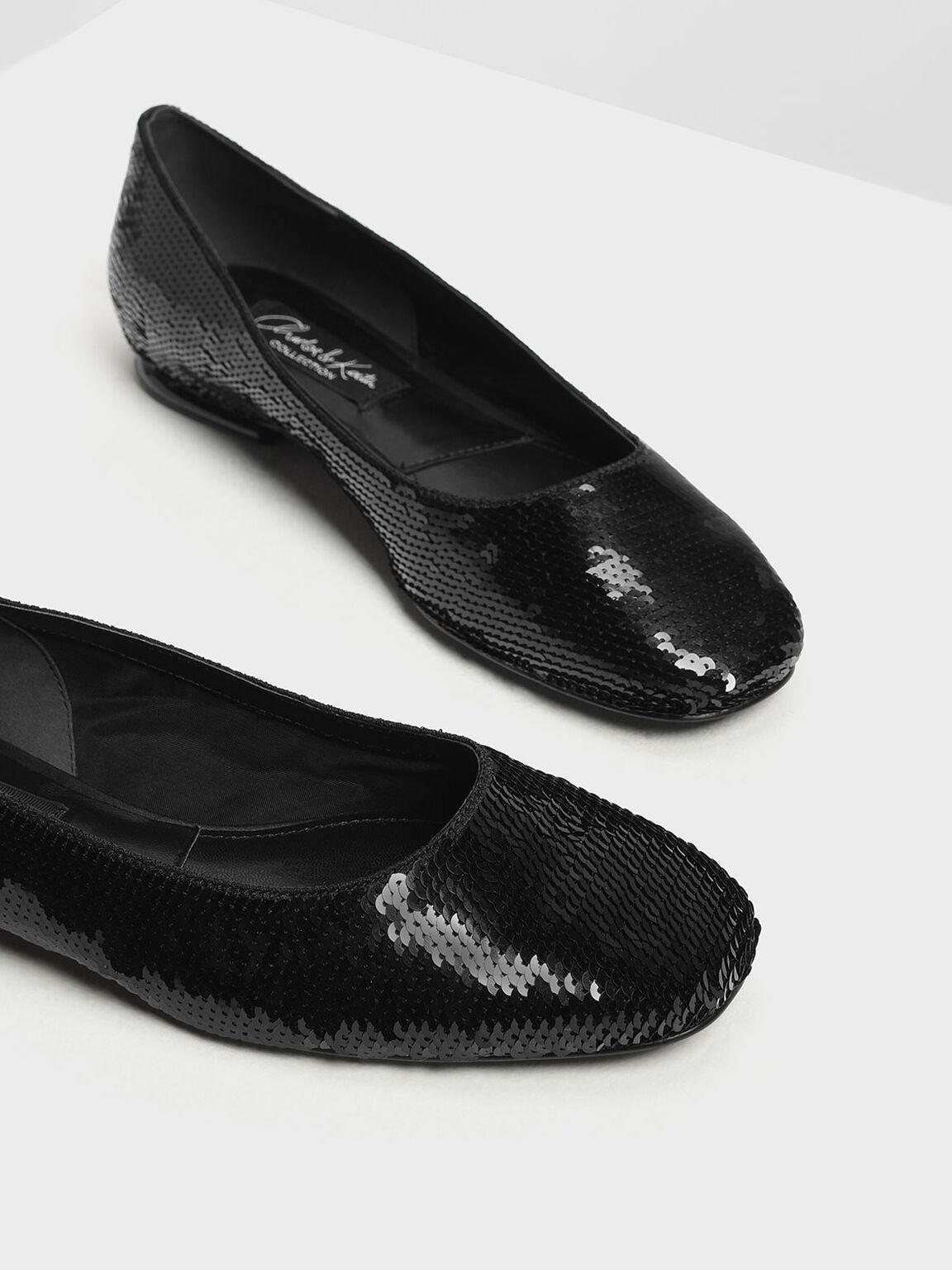 亮片平底鞋, 黑色, hi-res