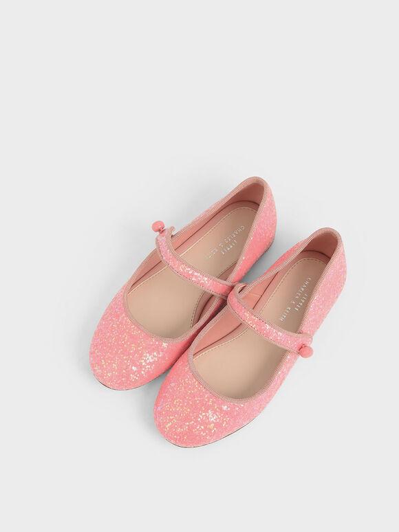 Girls' Glitter Mary Jane Flats, Pink, hi-res