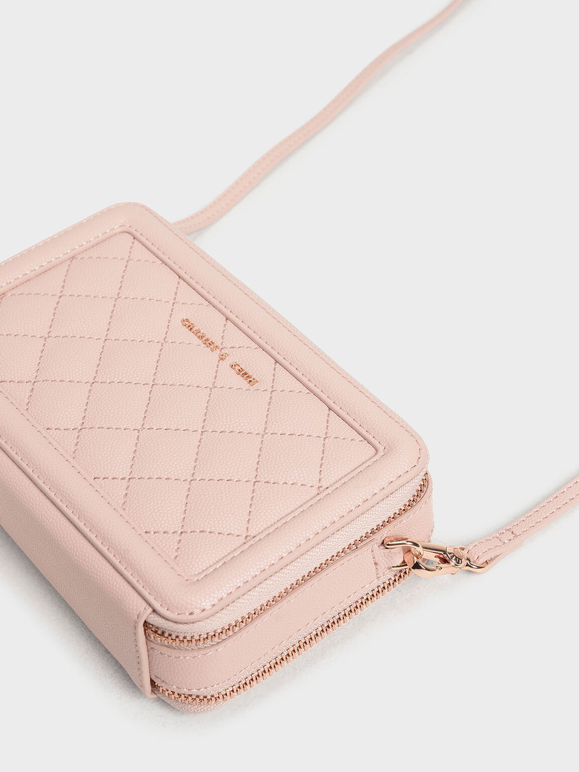 Quilted Long Zipper Wallet, Pink, hi-res